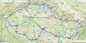 Mapa cesty kolem ČR